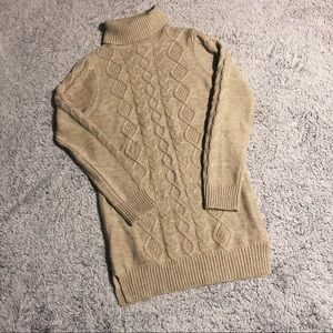 Tan Sweater with turtle - neck